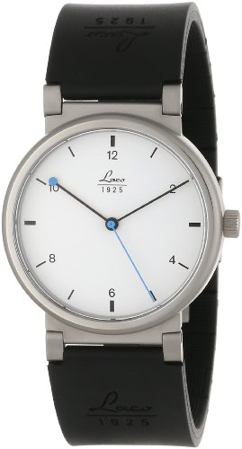 Laco 1925 Unisex Automatic Watch with White Dial Analogue Display and Black Rubber Strap 880102