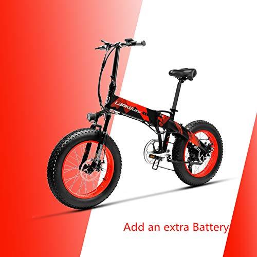 LANKELEISI X2000 48V 500W 10.4AH 20 x 4.0 Pulgadas Neumático Gordo 7 velocidades Shimano Palanca de Cambio Bicicleta eléctrica Plegable, para Mujer/Hombre Adulto (Rojo + 1 batería Extra)