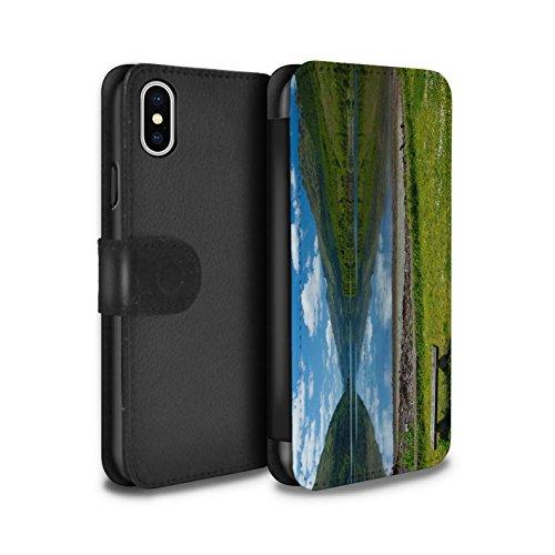 Stuff4 Coque/Etui/Housse Cuir PU Case/Cover pour Apple iPhone X/10 / Montagnes/Loch Design / Campagne Écossais Collection Loch/Bench