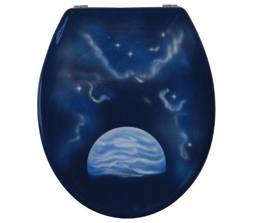 Sanitop-Wingenroth - 40535 5 -WC-Sitz Dekor Planet - Hochwertiger Toilettensitz aus Duroplast - WC Brille mit Metall-Scharnier