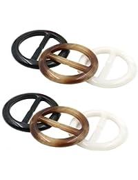 6pcs femmes dame filles en plastique rond cercle écharpe anneau foulards boucle  clips de fermoir de soie vêtements… 4d615e060dd