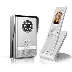 B&L Interphone vidéo sans fil avec mémoire - longue portée 500m avec fonction vision nocturne et surveillance active - étanche