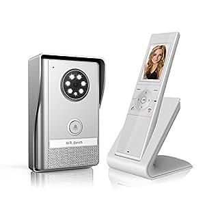 B&L Sonnette de porte Interphone portier vidéo couleur sans fil avec image mémoire Station (partie Mobile) extérieur et intérieur Station,500 m de distance de communication, la fonction de vision nocturne, IP55, surveillance active
