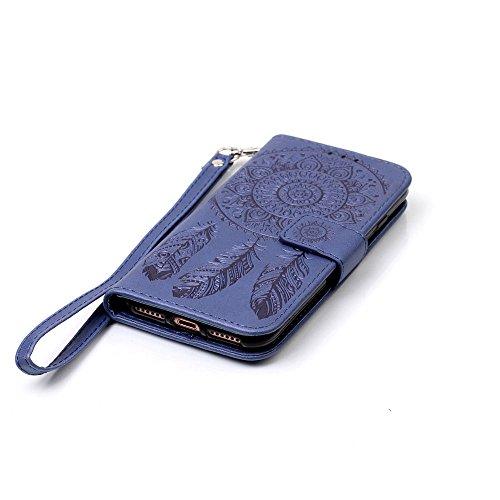 C-Super Mall-UK Apple iPhone 7 Plus hülle: Qualität Exquisite Geprägte Traumfänger und Blumenmuster PU-Leder-Mappen-Standplatz -Schlag-hülle für Apple iPhone 7 Plus(rot) Navy blue