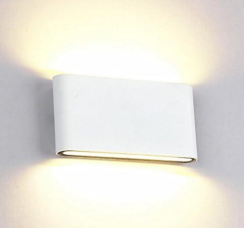 Glighone Applique Murale Extérieur Interieur Etanche LED Moderne 12W en Aluminium Eclairage Décoratif Lumière pour Cour Jardin Salon Chambre Couloir Balcon Escalier Terrasse Bureau Blanc Chaud