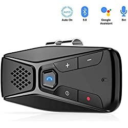 NETVIP Kit Mains Libres pour Voiture Bluetooth 5.0 Portable avec Instruction GPS,Musique, élimination du Bruit, Allumage Automatique, Handsfree Bluetooth Car Kit en même Temps Pair 2 Phones