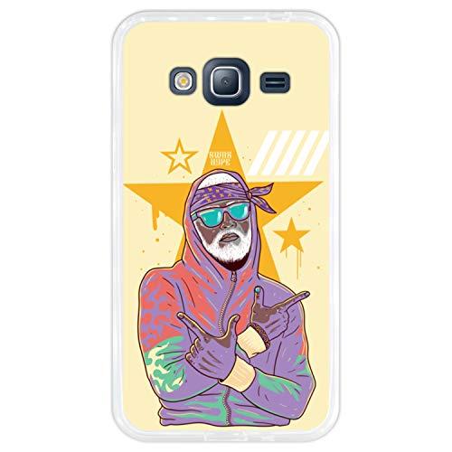 Funda Silicona Flexible para [Samsung Galaxy J3 - J3 2016] de Color [Transparente] con Estampado, Diseño [Gangster Rapero Blanco Barba mostrando Armas con los Brazos] Protege y destaca tu movil