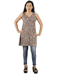 Fashion Parakeet | Casual Sleeveless Long Animal Print Top for Women | Girls
