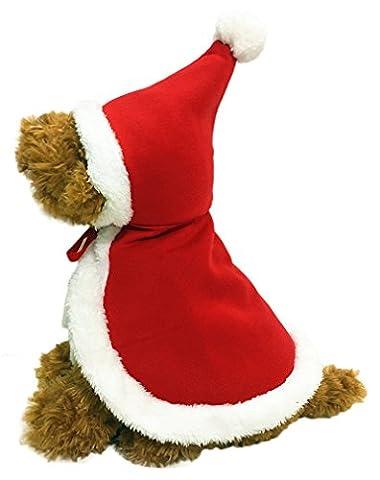 AIYUE® Hunde Weihnachten Umhang Mantel mit Kapuze Weihnachtsmann-Kostüm für Hunde und Katze Pet Winter Jacke Jumper (Hund Tragen Weihnachten Kostüm)