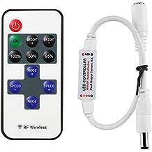 LitaElek Monocromo LED cinta tira de LED Controlador DC 5V-24V Mini controlador LED w / RF remoto para SMD 5050 3528 2835 5630 Un solo color LED tira LED Strip