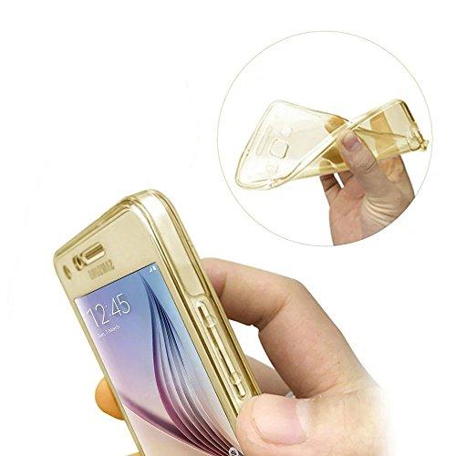 Custodia Cover per Samsung Galaxy S6 Edge Plus Samsung G928, Ukayfe Cover Specchio Lusso Placcatura Lucido di Cristallo di Scintillio Strass Diamante Glitter Caso per iPhone 7 Plus[Crystal TPU] [Shock Doro trasparente