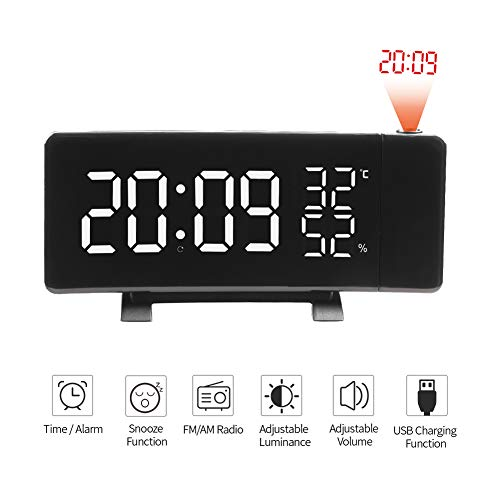 HEDDK Projektion Alarmtuhr Dimmable LED Thermometer Hygrometer Digital Dual Alarms Clock Snooze Funktion Dual USB Charging Ports FM Radio