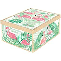 Kanguru Flamingos Flamants Roses Caja de Almacenamiento en cartòn Lavatelli, facil Montaje, Resistente, 39x50x24cm, Grande