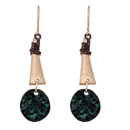lureme® Annata Oro Handmade Metallo Threaded Triangolo tondo Pendant Dangle Orecchini (er005225)