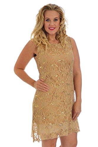 Nouvelle Collection Flapper Lace Dress Gold 12-14 -