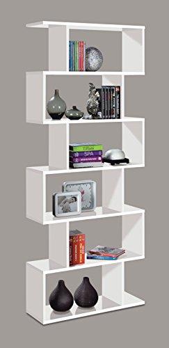 Ciara - ATHENA 6 TIER High Bookcase - 301011BO - WHITE GLOSS - (149.5x51.6x8)