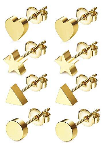 Finrezio Herz Dreieck Rund Stern Ohrstecker aus Edelstahl 316L für Mädchen Frauen 4 Paare Kleine Ohrringe Set RoseGold
