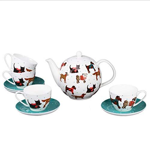 NAIHEQIAO9 Stück Bone China Kaffeeservice Teeservice Britisches Kreativhundegeschenk Nachmittags...
