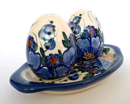 P.401 Salz- und Pfefferstreuer in Eierform, Keramik, handgefertigt, mit Tablett, Höhe 7 cm, 2 Stück, keramik, Passion Collection -