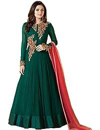 Aryan Fashion Women Georgette Anarkali Semi-Stitched Salwar Suit (Fashion Aryan_ERTY10760_Green_Free Size)
