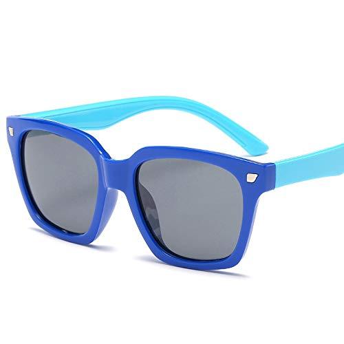 Kids Kleinkinder Jungen und Mädchen Kids Flexible Rubber Sonnenbrille-UV-Schutz und polarisierte Linsen für Brille (Color : Dunkelblau, Size : Kostenlos)