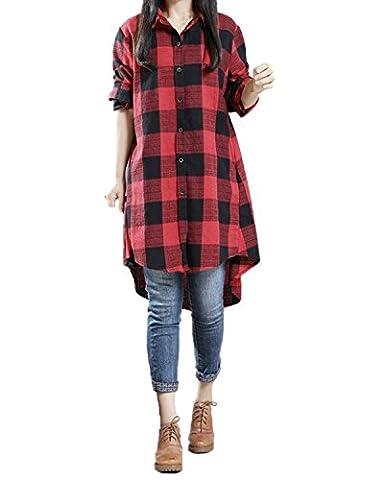 StyleDome Damen Locker Unregelmäßig Lange Ärmel Asymmetrische Kariert Tops Hemdkleid Schwarz-Rot EU 48