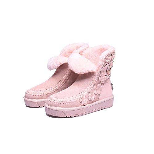 YYH Fatto a mano femminile caldo agnelli lana neve stivali vera pelle fiori ragazze più alla moda scarpe velluto . pink . 38