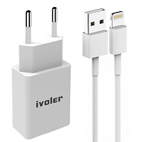 iVoler Ladeset - USB Ladekabel 1M + 2.4A Netzteil Netzstecker für iPhone X, 8, 8 Plus, iPhone 7, 7 Plus, 6s Plus, 6s, 6 Plus, 6, SE, 5s, 5c, 5, iPad mini/mini 2 /mini 3/mini 4,iPad 4/5,iPad Air/Air 2,iPod Nano / Touch,Ultra Slim USB Wand-Ladegerät Reise Adapter Ladeadapter Charger Ladestecker Netzteil mit Qsmart Tech für Apple iPhone, iPad,iPod,Samsung Galaxy, Nexus, HTC, Motorola, LG und Android Geräte (1000mA, 100-240V) - Weiß (4. Generation Ipod Nano Cover)