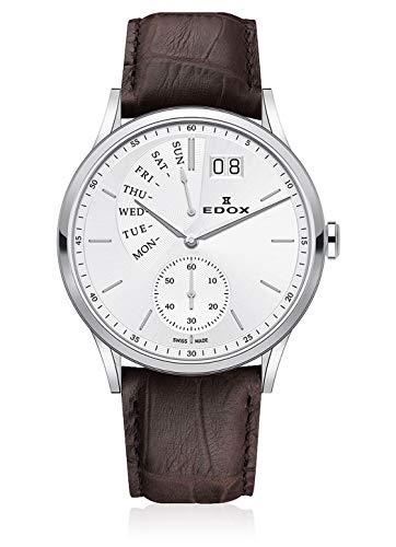 EDOX–Reloj de Pulsera Hombre Les vauberts Day Retro Grade Grande Fecha día de la Semana analógico de Cuarzo 345003AIN