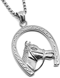 3eb55ef8be14 BOBIJOO Jewelry - Pendentif Fer à Cheval Tête Camargue Gitan Voyageur Acier  Argenté + Chaîne 60cm