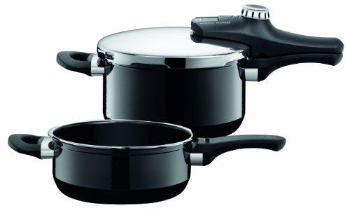Silit Sicomatic econtrol Schnellkochtopf Set 2-teilig 3,0l & 4,5l, Silargan Funktionskeramik, 3 Kochstufen Einhand-Drehregler induktionsgeeignet, spülmaschinengeeignet, schwarz, Ø 22 cm