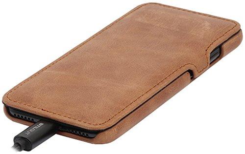 StilGut Book Type Case con clip, custodia in pelle cover per iPhone 7 Plus & iPhone 8 Plus (5,5) Chiusura a libro Flip-Case in vera pelle, Blu Scuro Nappa Cognac Vintage