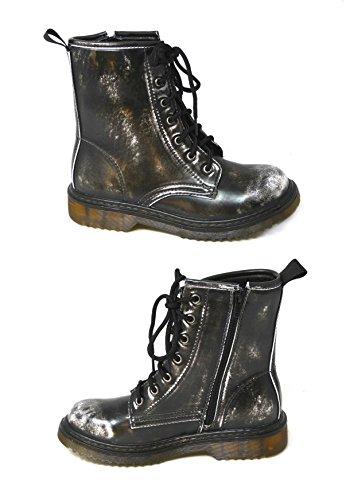 Bottines à lacets avec zip en cuir vernis pour femmes Style vintage, punk, combat Pointure 36-42 Black (hm001-2)
