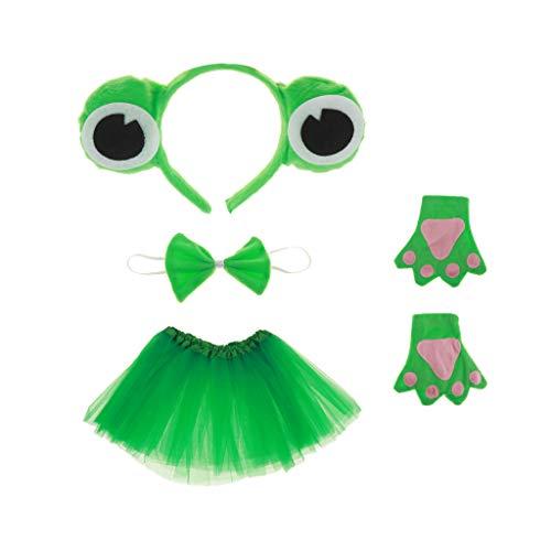 Froschkönig Kleinkind Kostüm - Gazechimp Kinder Froschkönig Kostüm Set - Haarreif, Fliege, Handschuhe, Tutu, Geschenk zum Geburtstag oder Weihnachten Cosplay Party Kostüm