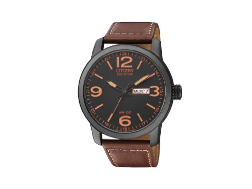 Citizen BM8476-07E - Reloj analógico de cuarzo para hombre, correa de piel de borrego color marrón