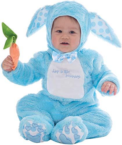 Costume di carnevale per bambini e bambine, con coniglietto blu e rosa, adatto per feste di carnevale e feste di pasqua, per bambini dai 3 mesi ai 3 anni