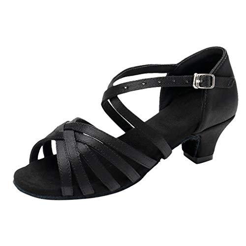 Damen Tanzschuhe Glitzer Blockabsatz Weicher Boden Schlüpfen Standard Latein Tango Salsa Dance Schuhe Elegante Sandalen für Party Hochzeit Celucke