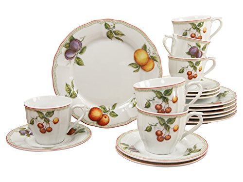 Creatable, 17030, Serie Flora Orchard, Geschirrset Kaffeeservice 18 teilig
