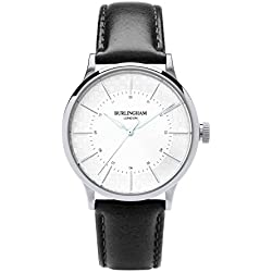 Burlingham London Confluence 07, Scatch Proof Sapphire Crystal, Quartz Watch, Unisex, White Sunray Dial Analogue Display and Black Leather Strap. Designer. Stainless Steel.