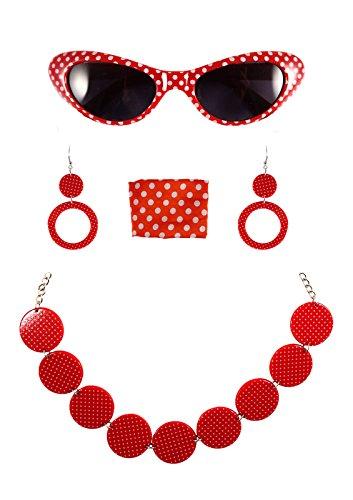 GCC Fashion Store Damen- / Mädchen-Schmuckset mit Brille, Halskette, Ohrringen, 50er-Jahre-Kostüm, gepunktet, Rot