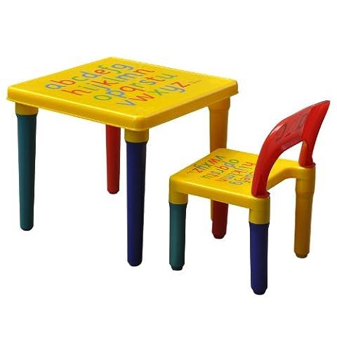 Popamazing Brand New Alphabet Table & Chair Set Kids Children Furniture