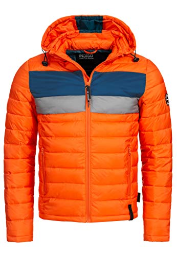 Indicode Herren Hampshire Herren Steppjacke Übergangsjacke Winter Jacke mit Kapuze Orangeade L
