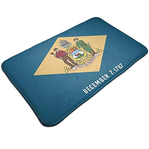 Zcfhike Delaware State Flag Waterproof Indoor Outdoor Entrance Doormat Rug Floor Mats Shoe Scraper Doormat with Non Slip Backing,19.5x31.5 Inch - Delaware Indoor Flag