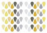 I-love-Wandtattoo WAS-10608 Kinderzimmer Wandsticker Set Sommer Tropfen in Pastell Gelb und Grau'' 56 Stück Regentropfen Regendrops Regenschauer zum Kleben Wandtattoo Wandaufkleber Sticker Wanddeko