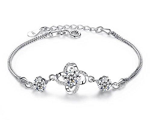 terling Silber Zirkonia Daisy Clover Armbänder, für Frauen Mädchen (F1809) ()