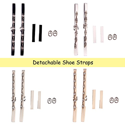 Andux Strisce Adesive Rimovibili per le Scarpe/Antiscivolo Anti-sciolti cinghie scarpa per tacco alto scarpe, cunei, appartamenti di balletto-PXD-01 (Nero) Bianco sporco