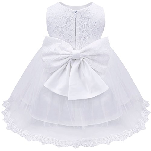 iEFiEL Baby Girls Lace Bowknot Flower Dress Wedding Pageant Baptism Christening Tutu Gown md9R7DH8