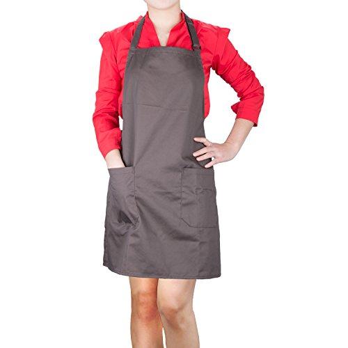 Delantales de Cocinero, Diealles Chefs Cocina Delantal con Correas de Cuello Ajustable y Bolsillos,Perfecto para Cocinar, Hornear - Marrón