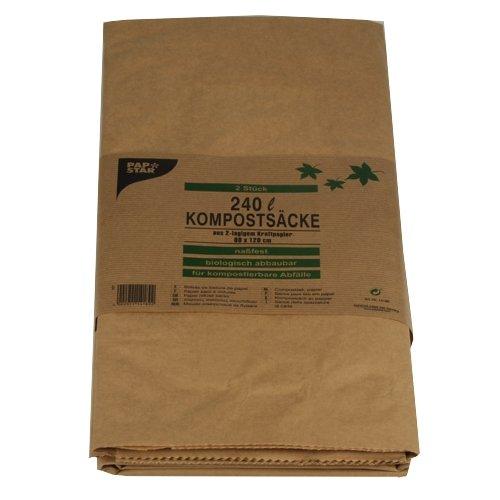 Compost Sacs, 2 couches papier kraft 240 l 115 cm x 80 cm x 30 cm Marron