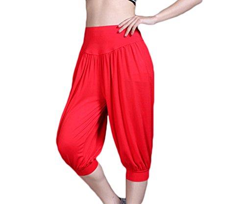 Baymate Pantalon de Sport Yoga Pantacourt Elastique Extensible - Baggy Pantalon Sarouel Femme Rouge